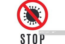 Coronavirus stop sign on white background. Vector illustration. EPS10
